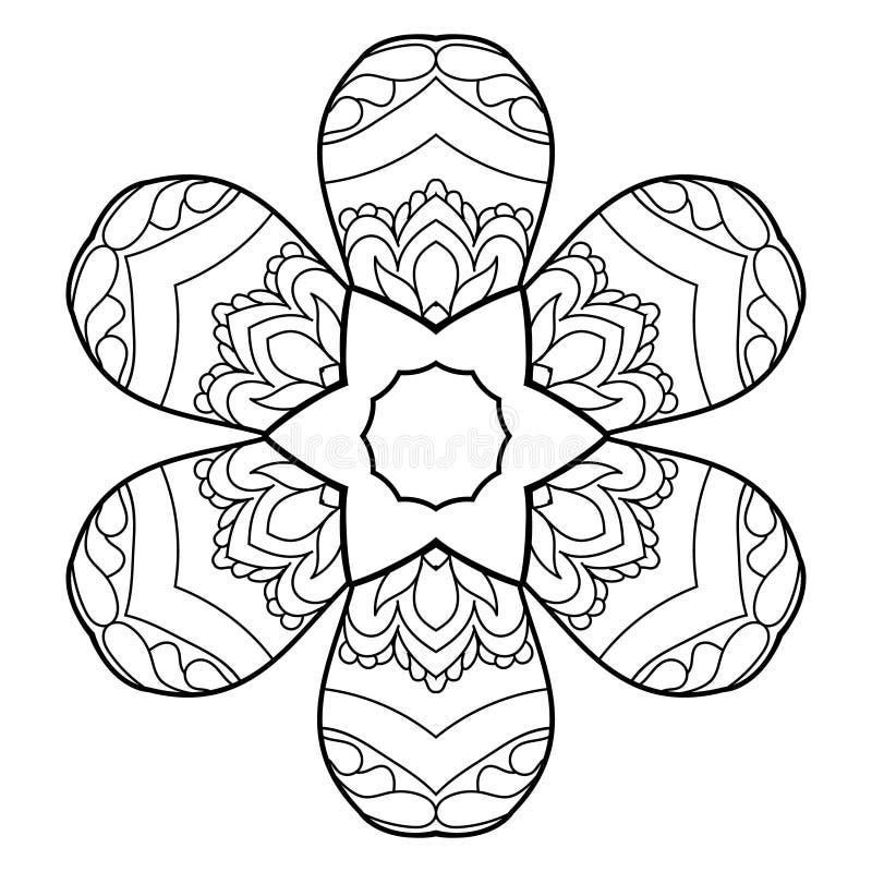 Pagina di coloritura con il gufo sveglio e la struttura floreale illustrazione vettoriale