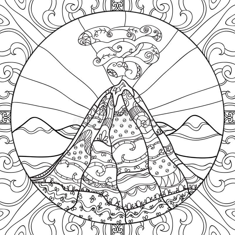pagina di coloritura con il vulcano illustrazione