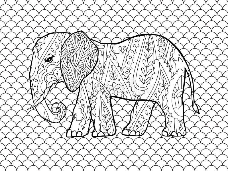Pagina di coloritura con l'elefante di stile di scarabocchio nello stile ispirato zentangle royalty illustrazione gratis