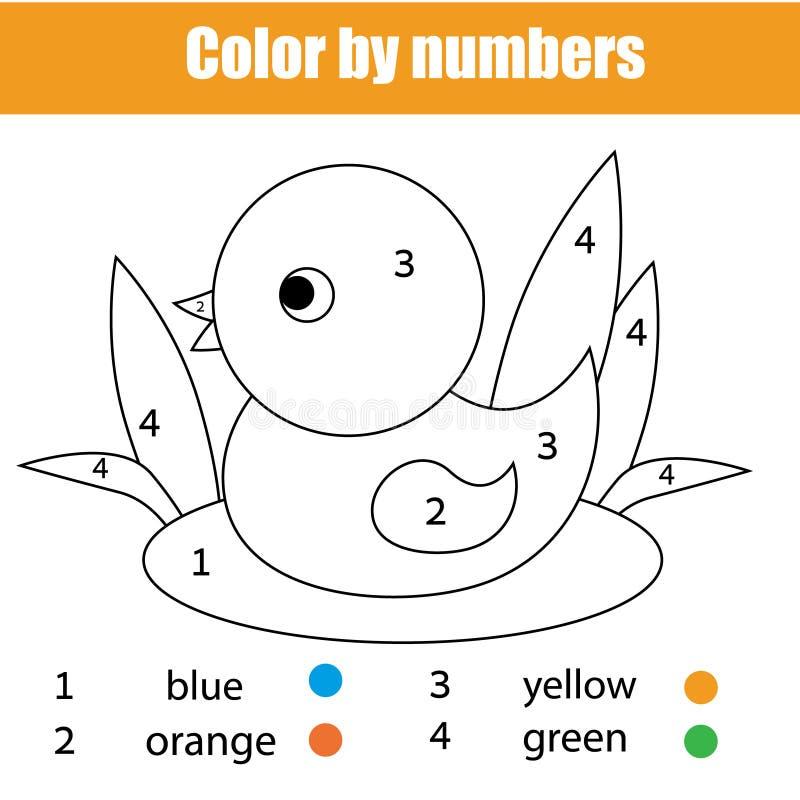 Pagina di coloritura con l'uccello dell'anatra Il colore dal gioco educativo dei bambini di numeri, pareggiante scherza l'attivit royalty illustrazione gratis