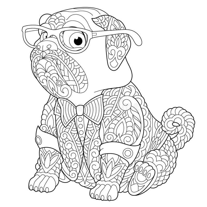 Pagina di coloritura del cane del carlino di Zentangle illustrazione di stock