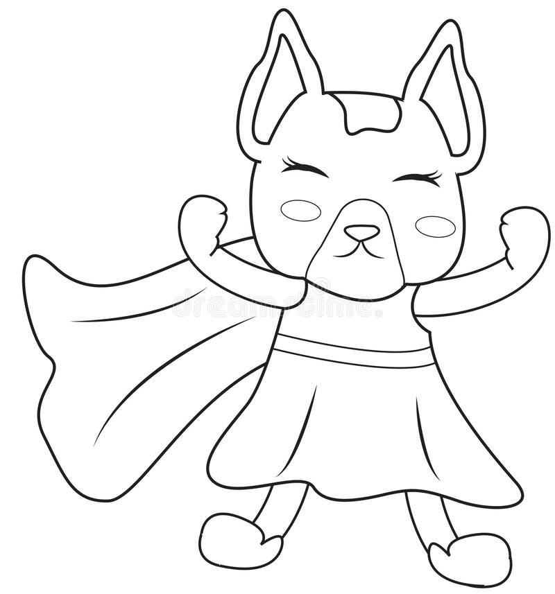 Pagina di coloritura del cane del supereroe illustrazione di stock