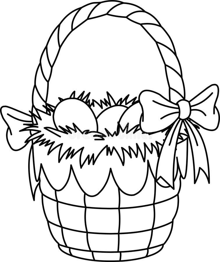Pagina di coloritura del cestino di Pasqua illustrazione di stock
