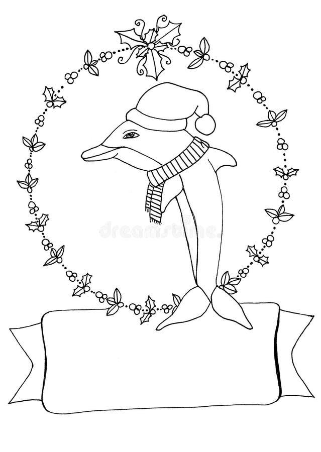 Pagina di coloritura del delfino di Natale immagini stock