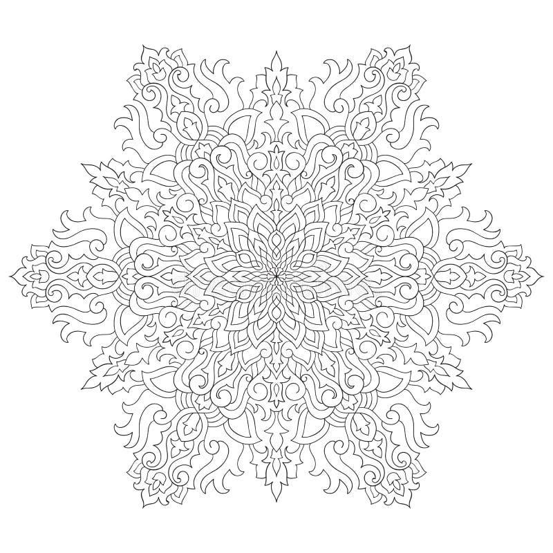 Pagina di coloritura del fiocco di neve di vettore illustrazione vettoriale