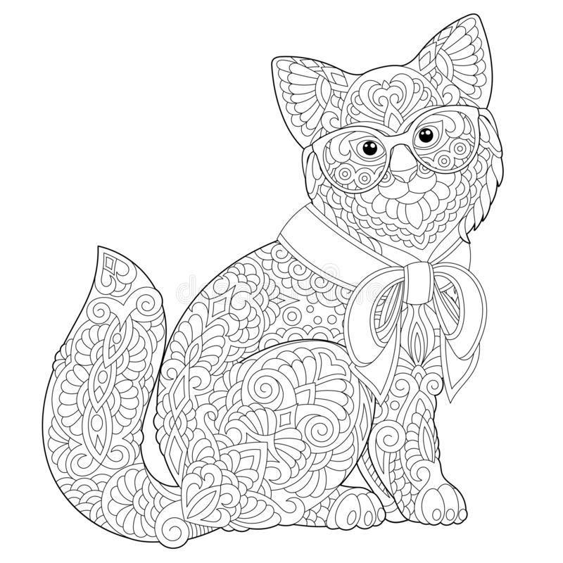 Pagina di coloritura del gatto di Zentangle illustrazione di stock