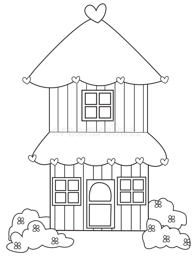 pagina di coloritura della casa di due piani illustrazione
