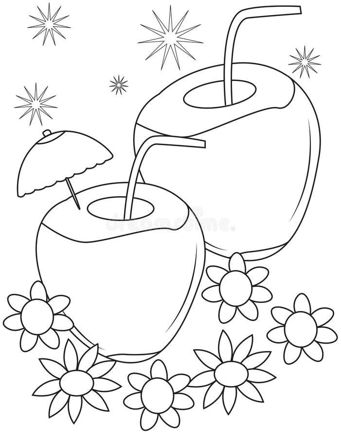 Pagina di coloritura della noce di cocco illustrazione vettoriale