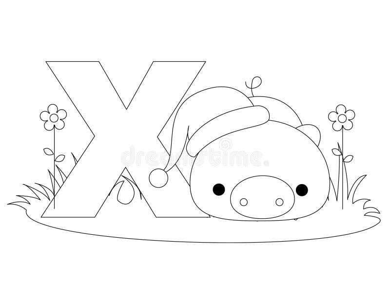 Pagina di coloritura di alfabeto X animale