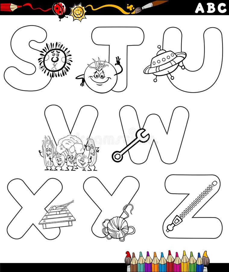 Pagina di coloritura di alfabeto del fumetto illustrazione di stock