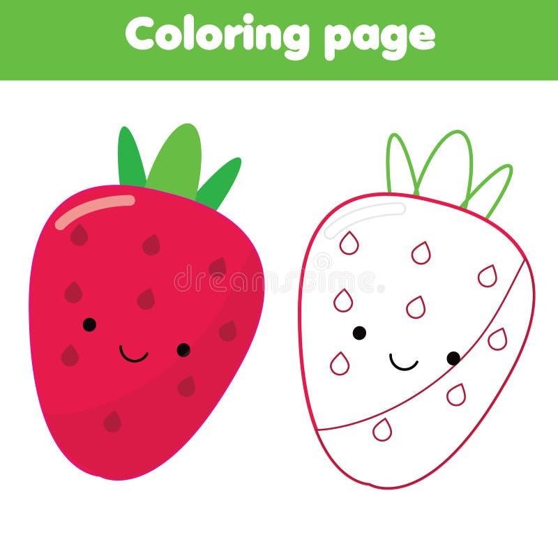 Pagina di coloritura Gioco educativo dei bambini Fragola sveglia Il disegno scherza l'attività stampabile royalty illustrazione gratis
