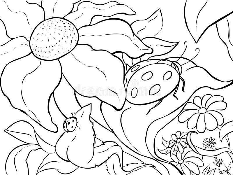 Pagina di coloritura - grande coccinella sulla foglia di un fiore - Linea-arte illustrazione di stock
