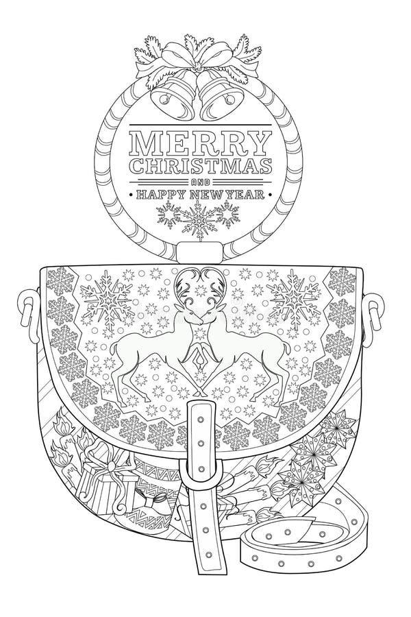Pagina di coloritura per gli adulti Natale  borsa royalty illustrazione gratis