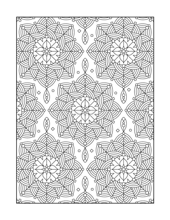 Pagina di coloritura per gli adulti, o fondo ornamentale in bianco e nero illustrazione vettoriale