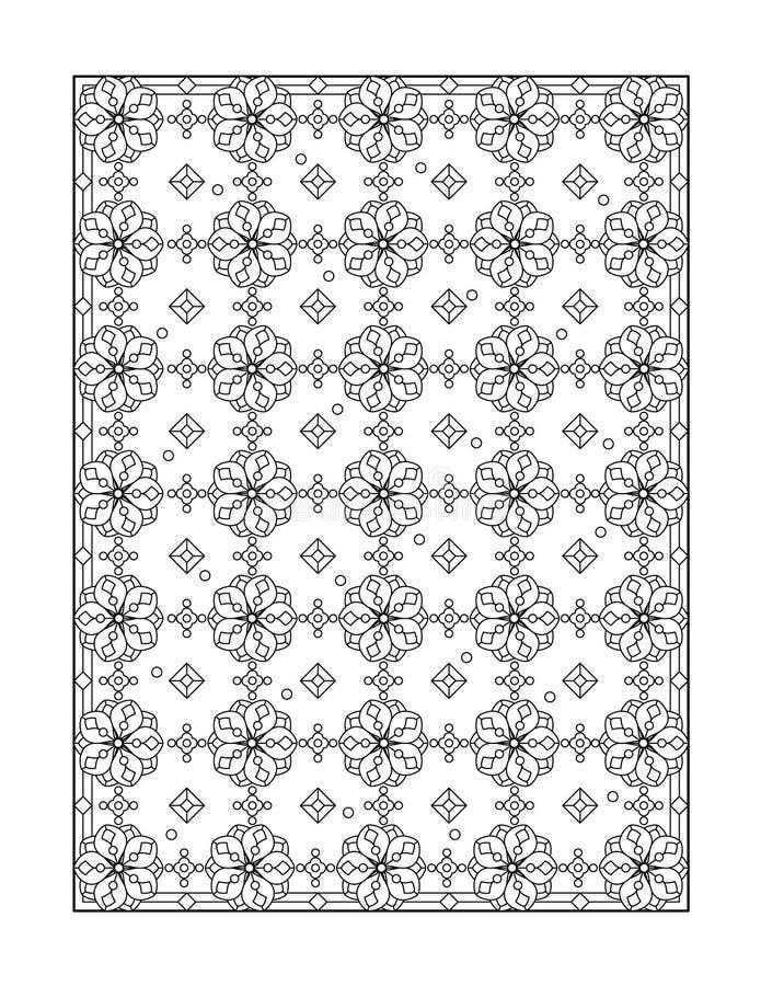 Pagina di coloritura per gli adulti, o fondo ornamentale in bianco e nero illustrazione di stock