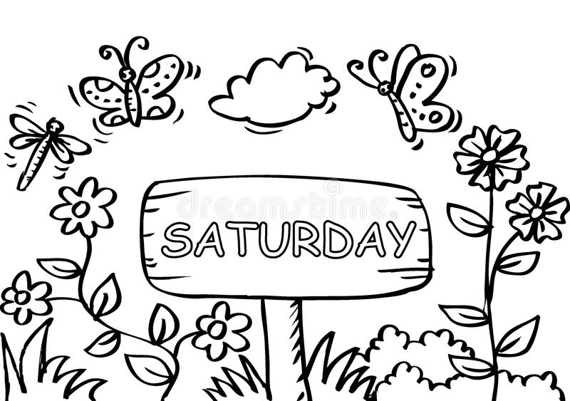 Pagina di coloritura di sabato con la farfalla illustrazione vettoriale