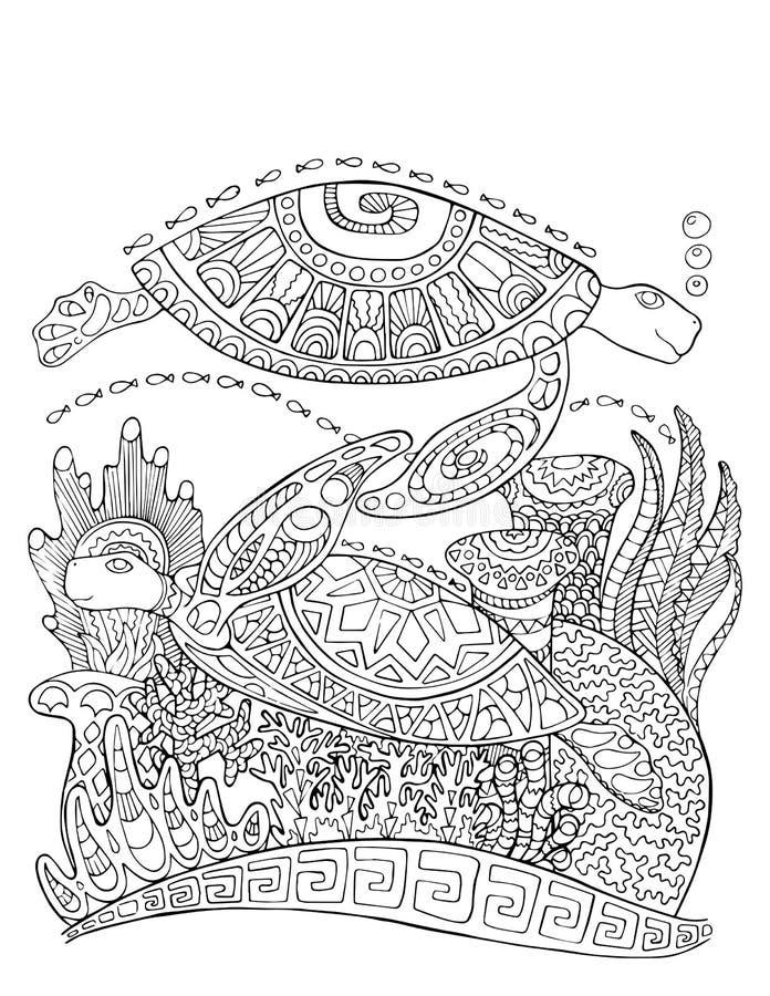Pagina di coloritura di stile di scarabocchio della tartaruga di mare Illustrazione subacquea per coloritura adulta illustrazione vettoriale