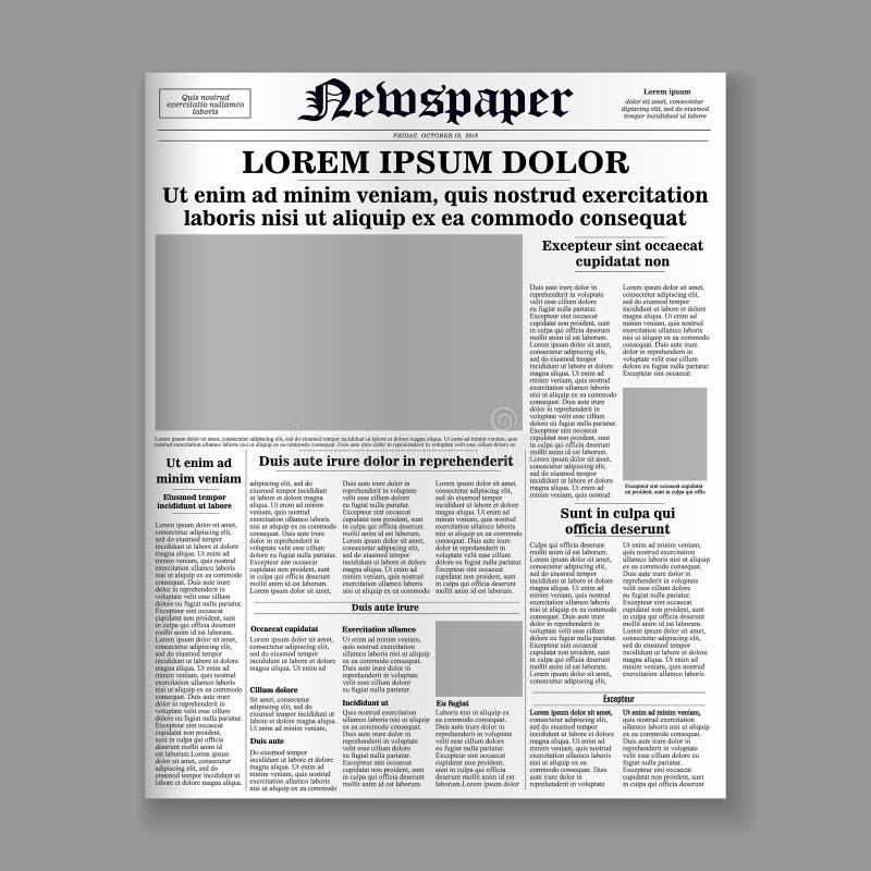 Pagina di fronte del giornale illustrazione di stock