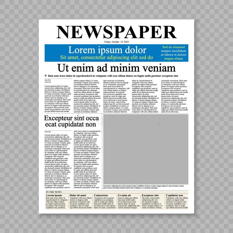Pagina di fronte del giornale royalty illustrazione gratis