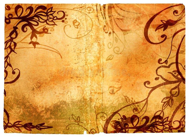 Pagina di Grunge con il bordo floreale illustrazione di stock