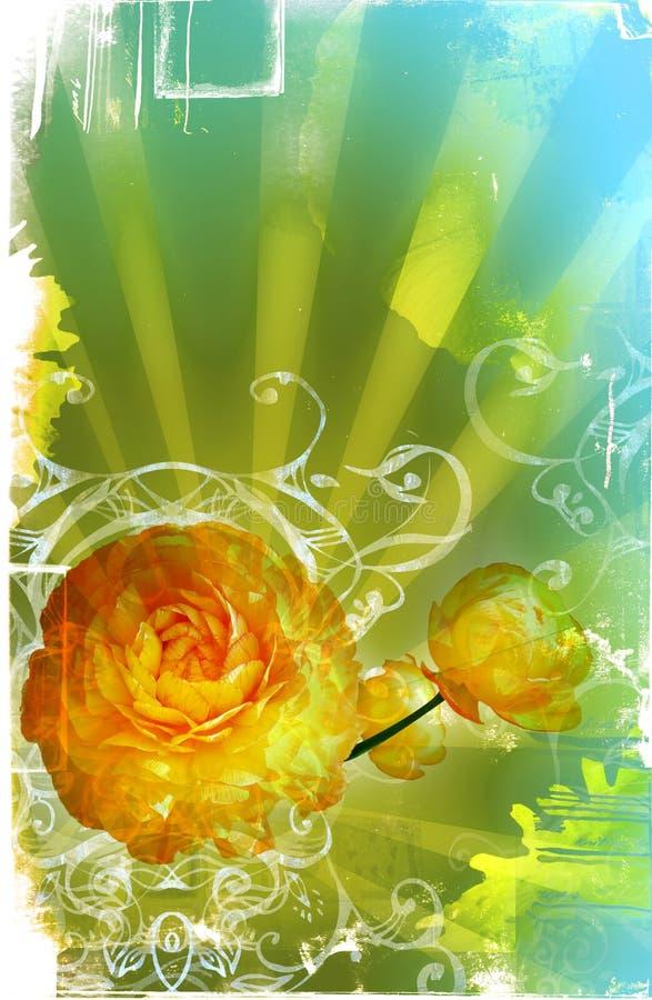 Pagina di Grunge con le macchie, raggi illustrazione vettoriale