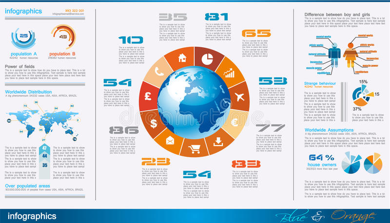 Pagina di Infographics con molti elementi di disegno illustrazione di stock
