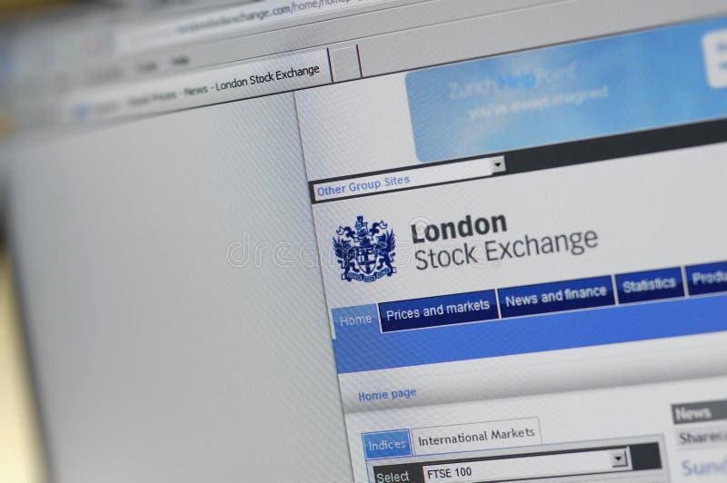 Pagina di Internet principale di borsa valori di Londra fotografia stock