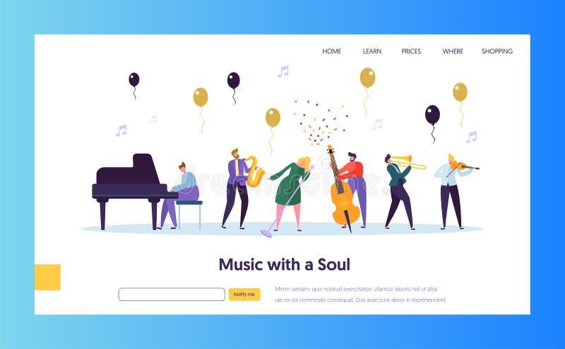 Pagina di Jazz Concert Show Concept Landing di divertimento Musicista Character con la tromba del violino del piano del sassofono illustrazione di stock