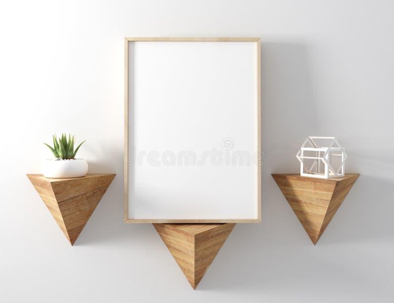 Pagina di legno del manifesto in bianco sullo scaffale moderno del triangolo con la parte posteriore di bianco illustrazione di stock