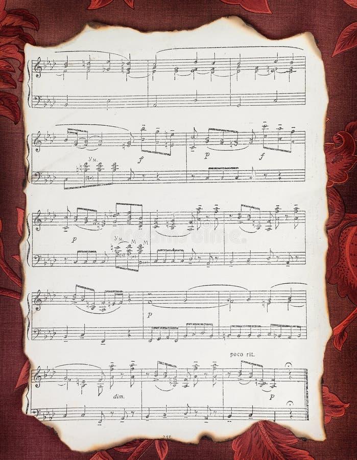 Pagina di vecchio libro di musica immagini stock libere da diritti