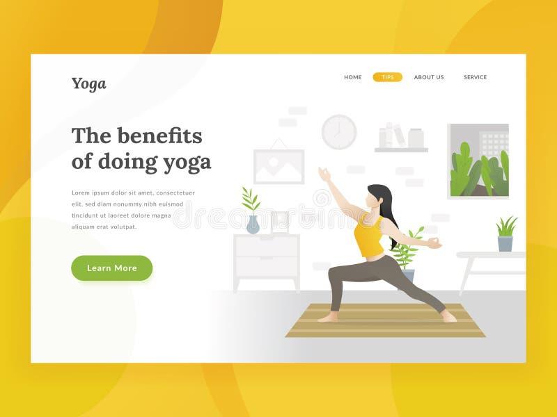 Pagina domestica di atterraggio di yoga illustrazione vettoriale