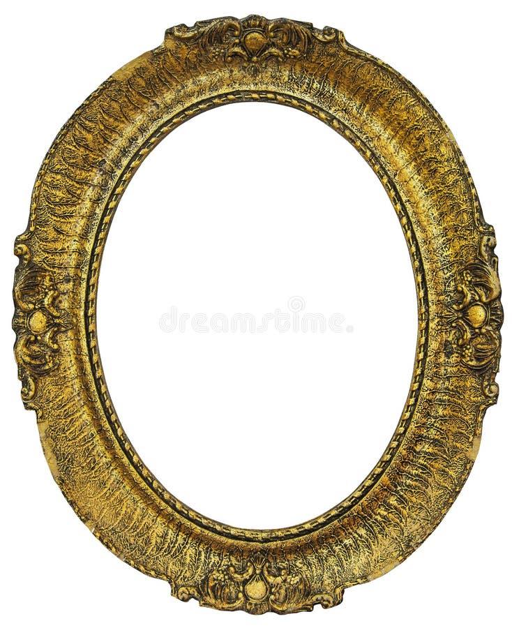 Pagina dorata di legno ovale fotografia stock