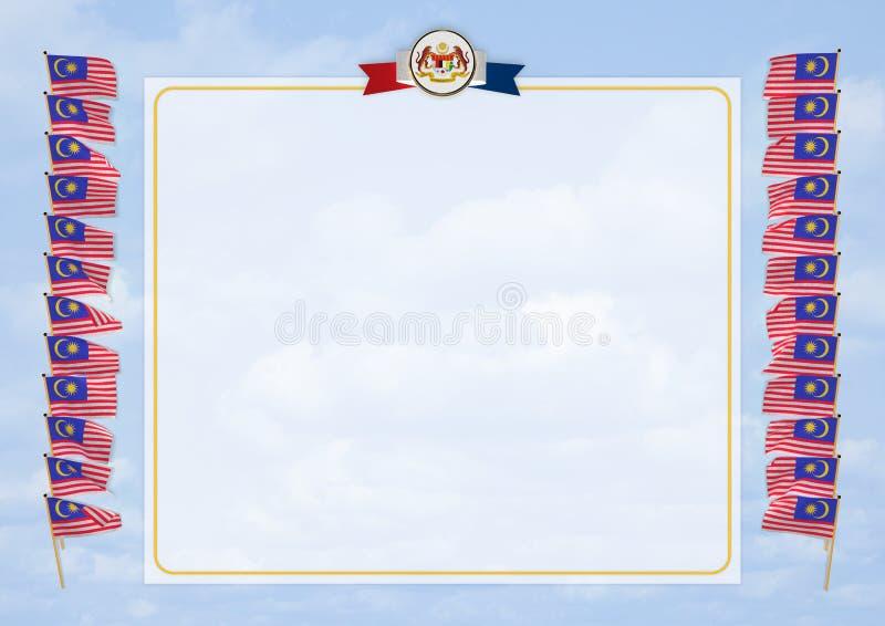 Pagina e confine con la bandiera e la stemma Malesia illustrazione 3D royalty illustrazione gratis