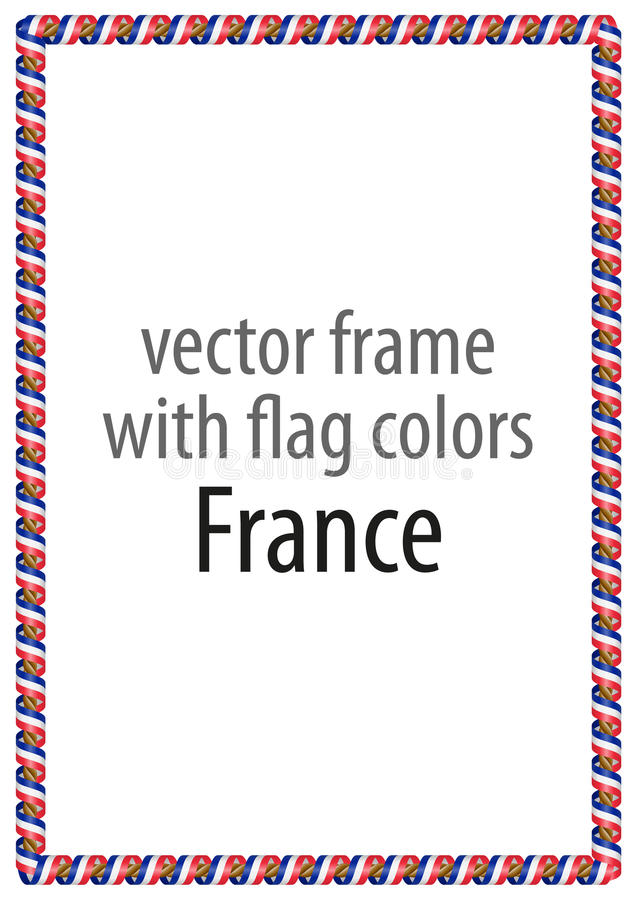 Pagina e confine del nastro con i colori della bandiera della Francia illustrazione vettoriale
