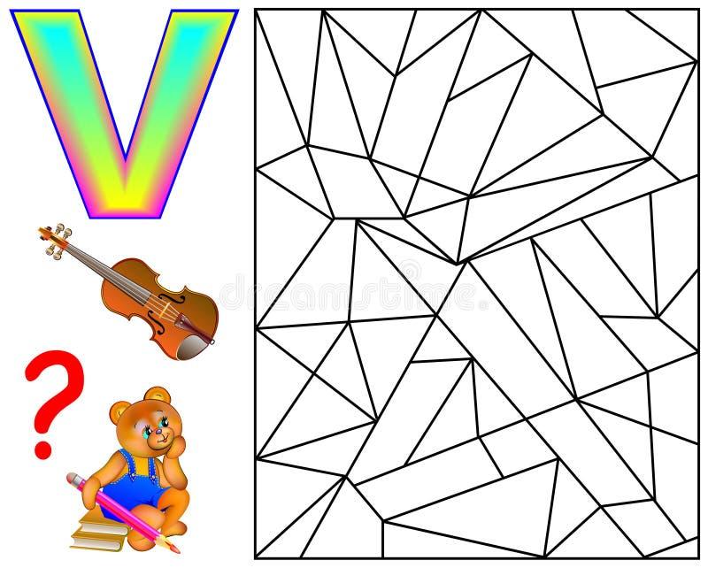 Pagina educativa con la lettera V per le lettere di inglese di studio Gioco di puzzle di logica Il ritrovamento e dipinge 5 lette royalty illustrazione gratis