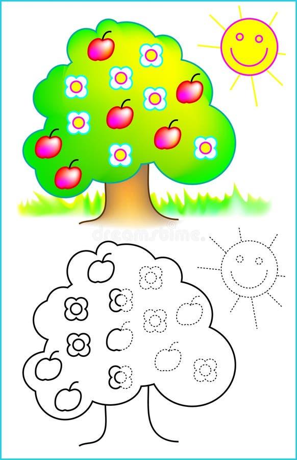 Pagina educativa per i bambini piccoli illustrazione vettoriale