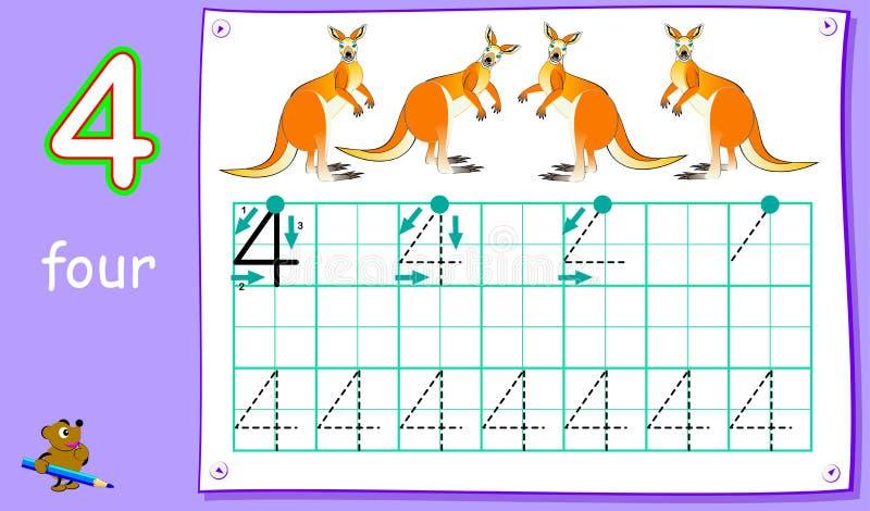 Pagina educativa per i bambini piccoli con il numero quattro Abilità di sviluppo per la scrittura e contare royalty illustrazione gratis