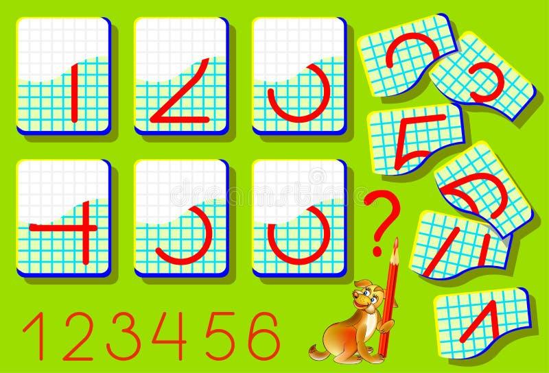 Pagina educativa per i bambini piccoli su una carta quadrata Debba trovare le seconde parti dei numeri e disegnarli nei posti per royalty illustrazione gratis