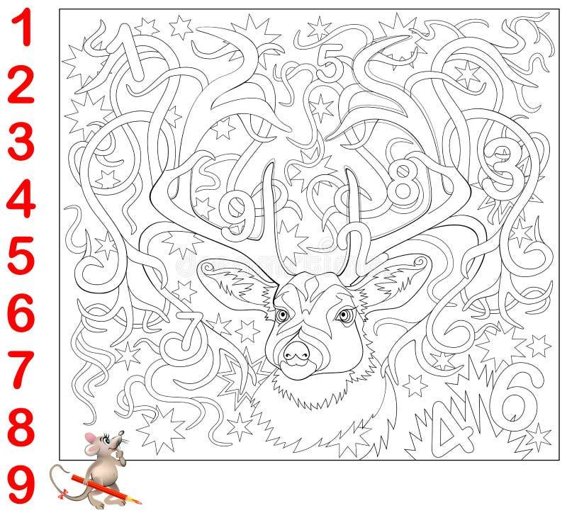 Pagina educativa per i bambini piccoli Trovi i numeri nascosti nell'immagine e dipingali Gioco di puzzle di logica illustrazione di stock