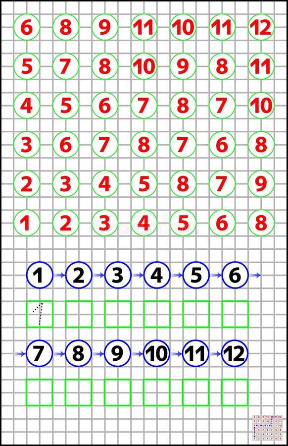 Pagina educativa per i bambini su una carta quadrata - debba trovare la direzione dal numero 1 a 12 ed unirli dal verticale o dal royalty illustrazione gratis