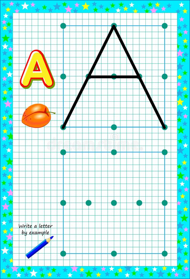 Pagina educativa per pochi bambini su carta quadrata Scriva la lettera dall'esempio Gioco di puzzle di logica illustrazione di stock