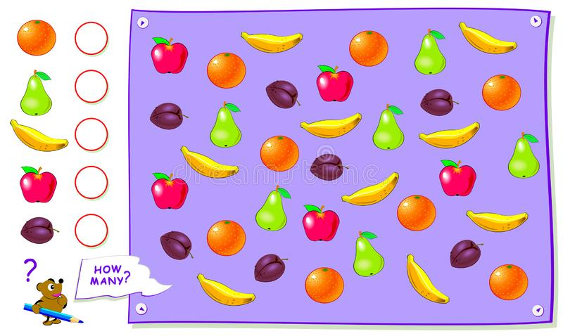 Pagina educativa stampabile per i bambini Conti la quantità di frutti e scriva i numeri nei cerchi Foglio di lavoro per il libro  illustrazione di stock