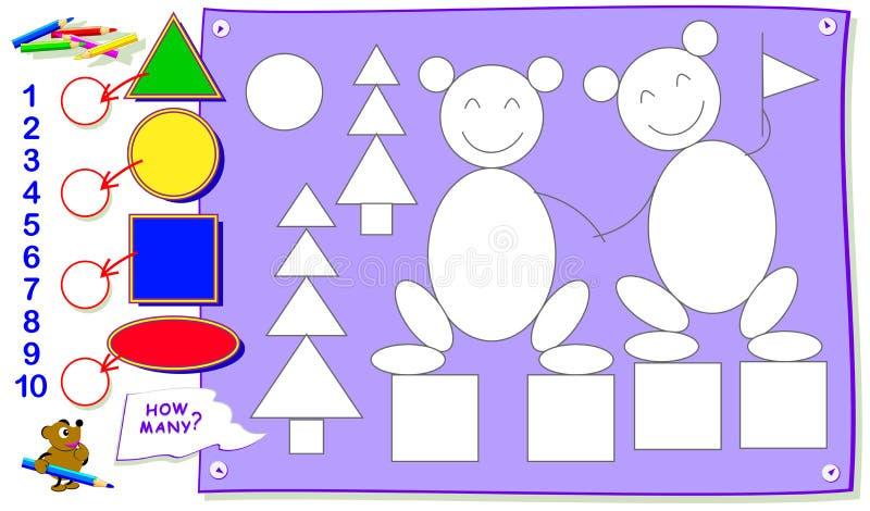Pagina educativa stampabile per i bambini Quanto ogni figure geometriche possono voi trovare? Dipingale, conti la quantità, scriv royalty illustrazione gratis