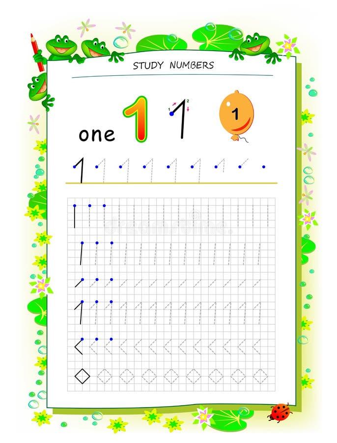 Pagina educativa su carta quadrata per i bambini con il numero 1 Foglio di lavoro stampabile per il manuale dei bambini Abilit? d illustrazione di stock