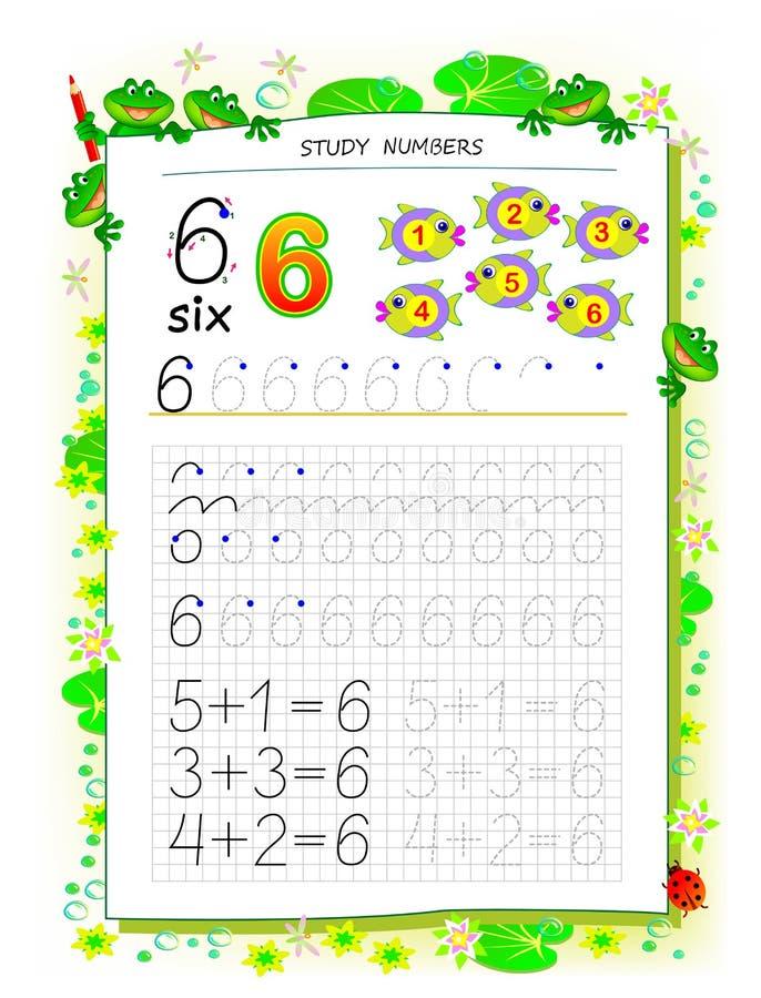 Pagina educativa su carta quadrata per i bambini con il numero 6 Foglio di lavoro stampabile per il manuale dei bambini royalty illustrazione gratis