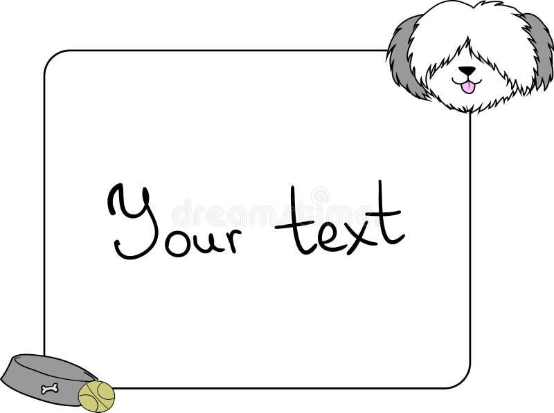 Pagina, elemento di progettazione con un cane sveglio del bobtail illustrazione vettoriale