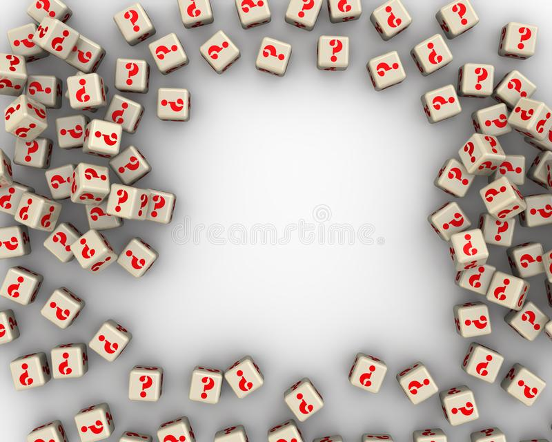 Pagina fatta dai cubi con simboli delle domande illustrazione vettoriale