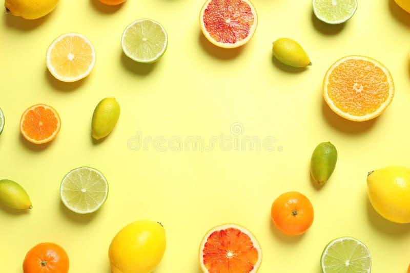 Pagina fatta degli agrumi differenti sul fondo di colore, disposizione piana immagini stock