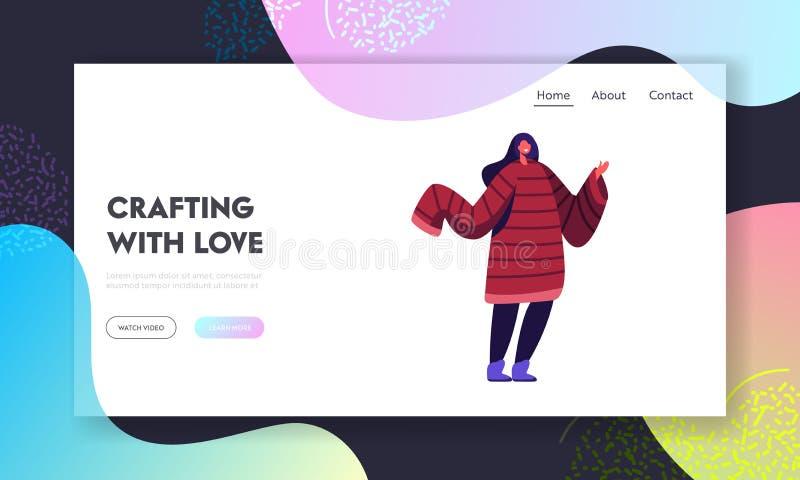Pagina fatta a mano di atterraggio del sito Web di hobby del cucito Giovane donna che indossa saltatore Handcrafted con le manich illustrazione vettoriale