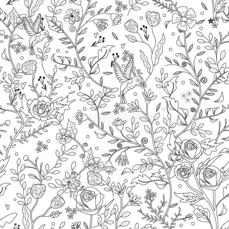 Pagina floreale senza cuciture graziosa di coloritura del modello illustrazione vettoriale